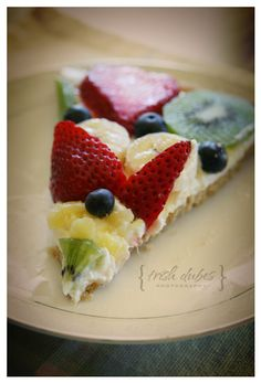 Fruit pizza. Crust made with almond flour. Use stevia instead of honey