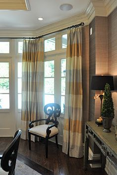 We went to the last day of the Parade of Homes this weekend! The Parade of Homes is an open house tour of tons of new houses in the Raleig. Dining Room Curtains, Secret Rooms, Drapery Panels, Parade Of Homes, Guest Bedrooms, Dream Decor, Window Treatments, Stripe Curtains, Silver Curtains