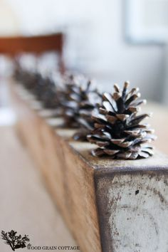 Home Tour – The Wood Grain Cottage : with pine cones for kitchen ledge Brea… - Thanksgiving Decorations Diy Thanksgiving Decorations, Seasonal Decor, Fall Decor, Christmas Decorations, Diy Thanksgiving, Pinecone Centerpiece, Centerpieces, Sugar Mold, Pine Cone Crafts
