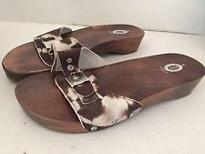 5d3db9ff2ef3 DR. SCHOLL S SOFT LEATHER SLIDES WOOD SANDALS SIZE 9 ITALY BROWN GRAY TIE  DYE