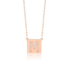 Made Simply Boutique's Square Necklace in Rose Gold, Letter M