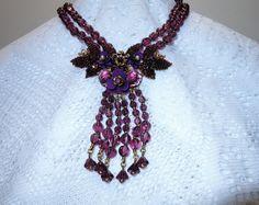 Ian St. Gielar Gilded Brass Purple Carved Glass Flower Pendant Two Strand Molded Glass Bead Necklace Earrings Demi Parure