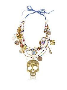 Mercedes Salazar Skull Ribbon Necklace, Red/Multicolor
