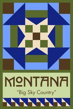 Olde America Antiques   Quilt Blocks   National Parks   Bozeman Montana : 50 STATE QUILT BLOCK SERIES - MONTANA - version 1