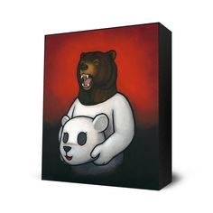 """Bear In Mind. Artist: Chueh, Luke. This fine art print is mounted on a 2"""" deep hand stained black frame. Ready-to-hang. Artist Info: Born in Philadelphia, but raised in Fresno, Luke Chueh studied graphic design at Cal Poly, San Luis Obipso where he earned a BS in Art & Design. In 2003 he moved to Los Angeles where he took up painting full time and started showing in the underground art scene. Since then Chueh has quickly worked his way up the ranks exhibiting in galleries and museums..."""