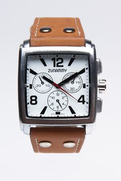 White Dial Square Watch with Brown Band