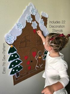 Kids Christmas Activity - Felt Gingerbread House PATTERN - Felt Christmas Tree - No Sew DIY Easy Craft Printable PDF - Decorate Toy