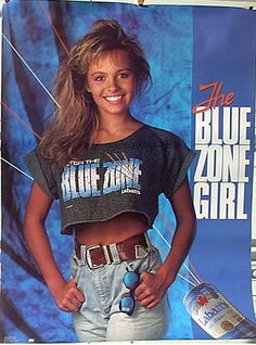 Pamela Anderson as the Blue Zone Girl in 1989