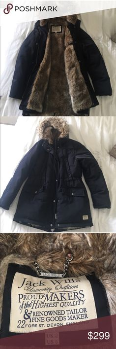 Jack Wills Faux Fur Parka Down filled, faux fur lined coat. The warmest coat I have ever owned! ❄️ size 8 but fits like a 6 Jack Wills Jackets & Coats Puffers