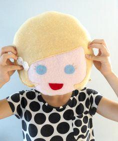 Girl Face Pillow  Doll Face Pillow  Girls Room Decor