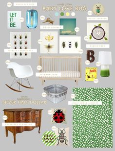 @Lisa Nighswonger thought of J when I saw this.  =) baby love bug neutral baby nursery style board inspiration