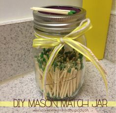 DIY Mason Match Jar - use sandpaper to strike matches on top of the jar!
