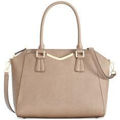 Calvin Klein Saffiano Satchel ($238) ❤ liked on Polyvore featuring bags, handbags, dark taupe, calvin klein satchel, satchel purse, calvin klein purse, taupe handbag and calvin klein