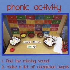 Lots of phonic activities Phonics Games, Jolly Phonics, Teaching Phonics, Phonics Activities, Kindergarten Activities, English Activities, Teaching Resources, Phonics Display, Eyfs Classroom