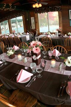rose pink and brown wedding reception ideas   ... the reception were decorated the same with pink and brown accents tags
