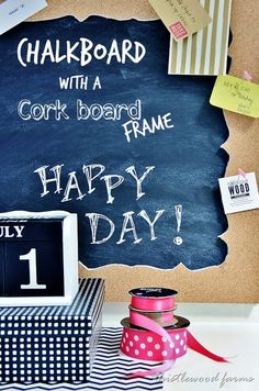 chalkboard with a cork board frame diy project