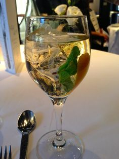A summer #aperitif from #Arzak #Spain : chilled dry white #wine with #amaretto, mint and shaved orange rind - See more at: http://thechicbrulee.com/2013/08/12/arzak-a-review/#sthash.tC0sA5I3.dpuf