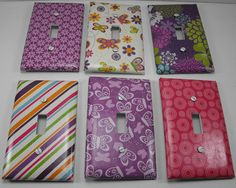 Light Switch Plate Covers ~ Girls Patterns by Blissmade Designs #decoupaged #crafts #switchplate