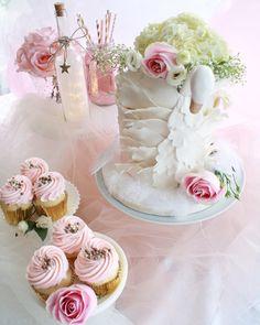 Swan cakescape from a Swan Princess 1st Birthday Party on Kara's Party Ideas | KarasPartyIdeas.com (21)