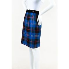 Pre-Owned Escada Blue Black Multicolor Wool Cashmere Velvet Trim Plaid... (59 CAD) ❤ liked on Polyvore featuring skirts, multi, wool plaid skirt, pencil skirt, below knee pencil skirt, knee length pencil skirt and checkered skirt