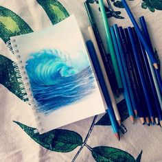 Color Pencil Drawing Realistic pencil drawing of the ocean? Draw an ocean wave with Prisma colors. Cool Drawings, Pencil Drawings, Prismacolor Drawings, Pencil Sketching, Realistic Drawings, Colorful Drawings, Illustration Au Crayon, Art Sculpture, Color Pencil Art
