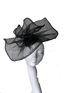 Black fascinator hat for weddings, cocktails, church and Derby     $70.00
