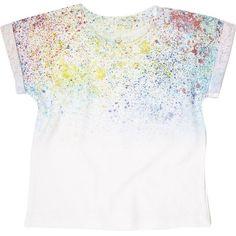 Mini boys white paint splatter t-shirt ❤ liked on Polyvore