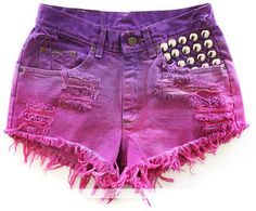 ShopStyle: Vintage Puple Pink Ombre  Studded Short - by RUNWAYDREAMZ