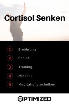 Cortisol ist ein Stresshormon in unserem Körper. Dauerhaft erhöhte Cortisolwerte sind schlecht für unsere Gesundheit. Hier sind die besten Tipps & Tricks zum Senken / Abbauen von Cortisol.  #cortisol #cortisolspiegel #senken #abbauen Stress, Cortisol, Tricks, Training, Movie Posters, Health, Film Poster, Work Outs, Excercise