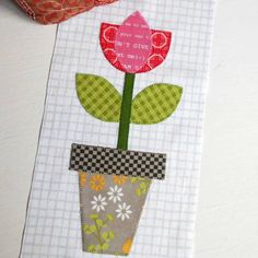 Block 121 - Tulip Pot. Another block for the Bee Happy sew-along hosted by Bee in my Bonnet and Riley Blake.