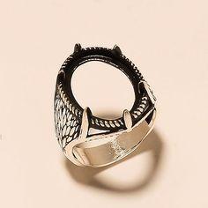 925 Sterling Silver Semi Mount Men's Jewelry Handmade Bikers Fine Jewelry Ring