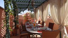 Breakfast area on the terrace, Riad Al-Bushra, marrakech Decor, Table, Table Decorations, Breakfast Area, Home Decor, Furniture, Areas