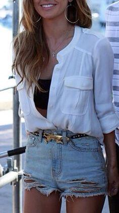 white blouse + jean shorts