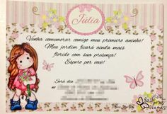 Convite- de- aniversário- boneca- de- pano- 11 Frame, Alice, Boy Decor, Invitation Birthday, Themed Parties, Fabric Dolls, Places, A Frame, Frames