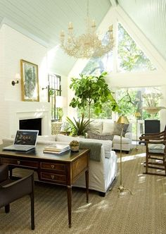 Look up! The most amazing compilation of ceiling treatments with either, paint, wallpaper or lacquer.  From the blog of Westchester, NY Interior Designer Laurel Bern. #interiordecorator #ceilings