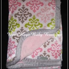 Damask Print Baby Blanket Pink Gray Green Blankets and Beyond