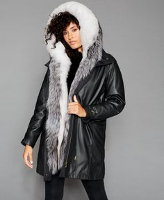 Two-tone fox fur lends endless luxury to this sleek leather coat from The Fur Vault, fashioned with gorgeous, soft rabbit fur that lines the front interior. Fox And Rabbit, Rabbit Fur Coat, Fox Fur, Fur Trim, Hoods, Autumn Fashion, Winter Jackets, Womens Fashion, Female Fashion