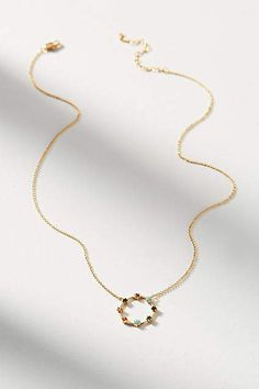 Anthropologie Delicate Rainbow Circle Necklace