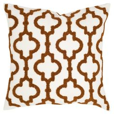 Bring a pop of pattern to your sofa or favorite reading nook with this chic cotton and linen pillow, featuring a quatrefoil-inspired ogee motif for eye-catch...