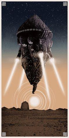 Distant Lands it the solo show by pop culture artist Matt Ferguson. It opens at the Bottleneck Gallery in NY. See the Matt Ferguson Bottleneck show Fiction Movies, Science Fiction Art, Sci Fi Movies, Arte Sci Fi, Sci Fi Art, Milla Jovovich, Star Trek, Spaceship Art, Sci Fi Ships
