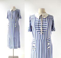 Abito vintage 30s | Sylt Strand | Abito nautico | 1930s dress | M L di SmallEarthVintage su Etsy https://www.etsy.com/it/listing/478902274/abito-vintage-30s-sylt-strand-abito