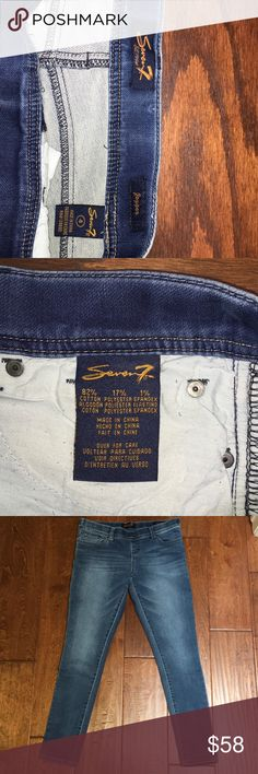 Seven7 Skinny Jeans This very sexy pair of seven7 jeans are a skinny style and a size 4, they're 82% cotton 17% polyester & 1% spandex, they have a 30 inch inseam. Seven7 Jeans Skinny