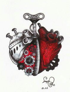 A Clockwork Anatomical Heart Art by devil urumi. New tattoo idea! Arte Steampunk, Steampunk Heart, Tattoo Drawings, Body Art Tattoos, Cool Tattoos, Retro Tattoos, Tatoos, Tatuagem Trash Polka, Frida E Diego