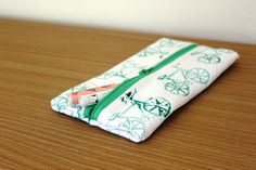 Hand-printed hand-sewn green bicycle pouch by Yoliprints on Etsy