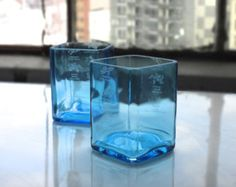 Juego de dos 2 reciclado Bombay zafiro por BottleshockGlassware