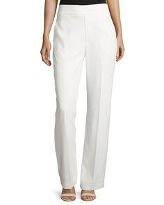 Catherine Catherine Malandrino Wide-Leg Crepe Pants, White, Women's, Size: 10