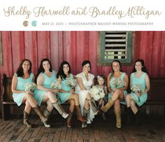 Love the light blue bridesmaid dresses and cowgirl boots. See more from this casual country wedding in Memphis! Pics by @masseywening | The Pink Bride® www.thepinkbride.com
