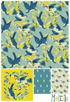 spring birds pattern by marco marella design, www.marcomarella.com