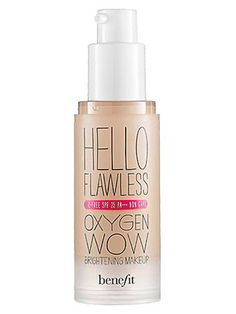 Create an even-looking complexion using a sheer liquid foundation, like Benefit Hello Flawless Oxygen Wow Brightening Makeup Oil-Free SPF 25 PA+++, $34, benefitcosmetics.com. Apply the foundation to your skin using a dampened non-latex sponge, like Victoria's Secret Victoria Vogue Non-Latex Foundation Sponge, $1.59 for two, amazon.com, for a streak-free application.   - Cosmopolitan.com