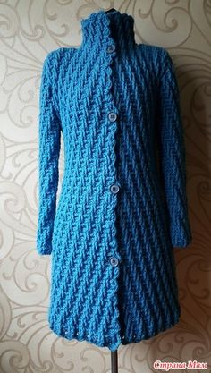 Płaszcz hak - Knitting - Home Moms Gilet Crochet, Crochet Bra, Crochet Jacket, Crochet Woman, Crochet Cardigan, Crochet Clothes, Crochet Needles, Crochet Stitches, Knit Patterns